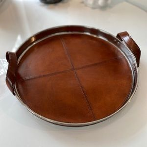 Leather and steel serving tray